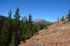 Mammoth Mountain from Mammoth Consolidated Mine (simbajak) Tags: california mammoth mountian consolidated mine mining green blue orange rust pine trees skiing ski runs tailings sierranevadamountains inyonationalforest volcanic explored