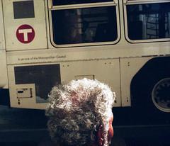 untitled (kaumpphoto) Tags: mamiya nc1000s kodak portra 800 color bus street urban city logo icon t transportation commute minneapolis head hair gray beige curl wheel service ear wait round circle