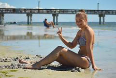 Peace from Florida (radargeek) Tags: florida fl 2018 october beach pier fortmyersbeach bikini portrait peace sign smile braces