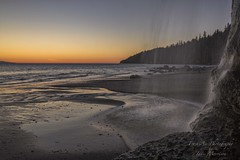 Mystic Beach, West coast of Vancouver Island (Freshairphotography) Tags: mysticbeach mysticbeachtrail mysticfalls beach juandefucamarinetrail westcoast sunset waterfalls waterdroplets waterflow sand vancouverisland beautifulbc afterglow coast canada explore explored