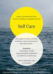 Library Learning Series + Health & Wellness Committee: Self Care Session (Leeward Community College Library) Tags: leewardcc selfcare taichi meditation aromatherapy