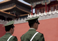 Police Guards At Forbidden City, Beijing, China (Eric Lafforgue) Tags: mg0421 adultonly adultsonly architecture asia authority beijing bluesky china chinesescript city colorpicture communism composition day dedos famousplace forbiddencity gate guard history horizontal internationallandmark menonly militaryuniform monument outdoor pekin police policeofficer policeman rearview standing tiananmensquare traditionallychinese travel twopeople unesco uniform unrecognizableperson worldheritage