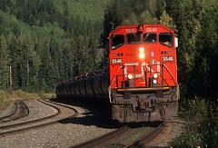 Curving for Yellowhead (Moffat Road) Tags: canadiannational cn graintrain curve yellowheadpass yellowhead britishcolumbia train emd gmd sd60f 5546 railroad cnalbredasub locomotive bc
