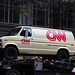 1980s scene re-creation: CNN news van