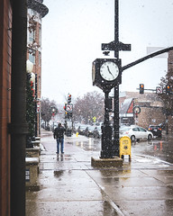 Snowy Day (tylerjacobs) Tags: sigma 30mm f14 sony a6000 snow snowy day snowstorm flake snowflakes street photography illinois downers grove chicago person people watching city urban contrast white weather