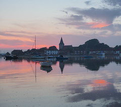 "Blushing Bosham 4 (Say ""Wasabi"") Tags: bosham sunset sussex olympus harbour waterside village landscape scenery boats clouds water church reflections pink chichester"