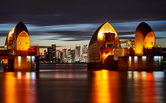 Thames Barrier (Magno Lima) Tags: canary wharf blue hour thames flood barrier river london england water engineering landmark construction metal sky capital city tidal gate dam britain tide defence greenwich sunset architecture cityscape reflections outside