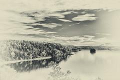 monochrome landscape (anderswetterstam) Tags: fall lake landscape seasons blackandwhite monochrome autumn sky clouds reflection trees islands