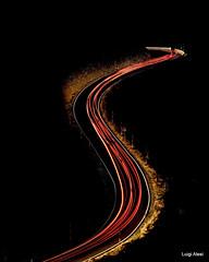 Sibillini - luci nel buio (Luigi Alesi) Tags: italia italy marche macerata pintura bolognola sibillini national park luci lights scie luminose notte night nultiesposizione strada road nikon d750