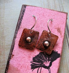 recycled antiqued copper and sterling tab earrings 1 (msficklemedia) Tags: handforged artisanjewelry handcrafted earrings recycledmetal stone beads sterling silver missficklemedia