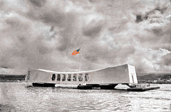 The U.S.S. Arizona Memorial (1985) (FotoGrazio) Tags: ussarizona burial sunkenship digitizedfilm arizonamemorial selectivecolor windows hawaii photoeffect pearlharbor ww2 waynegrazio portals worldwar2 americanflag photomanipulation usmilitary usa burialsite heroes architecturalphotography memorials ussarizonamemorial clouds archtecturaldesign painterly restinpeace waynestevengrazio beautiful flagpole monument lovely monuments phototoart unitedstates tourism waynesgrazio fotograzio touristattraction touristsite aiea