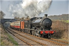 63395 Rabbits Bridge. (Alan Burkwood) Tags: gcr rabbitsbridge raven ner q6 63395 steam locomotive passenger train box wagon nymr