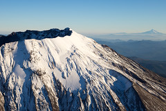 Mt. St. Helens and Mt. Hood (pdx.rollingthunder) Tags: fl flight aviation pacificnw pacificnorthwest mountsthelens mtsthelens volcano aerialphotography aerial