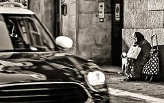 Different speed (Fabio Pratali LI) Tags: firenze people bw anziani automobile velocità povertà