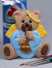 Joy To The World (Lisa Zins) Tags: macromondays macro january14 hobby tamron lisazins craft paint brush ornament christmas bear bisque ceramic monday 2019 christmasdecoration teddybear angel halo wings