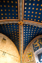 DSCF3702 (Patrick Hadfield) Tags: architecture castle palazzo medieval painting ceiling vaulting fresco blue stars