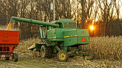 December Harvest (thetrick113) Tags: combine corn fieldcorn field farm ag wagon hopperwagon gravitywagon cornfield ulstercountynewyork johndeere discharge sunset sonyslta65v hudsonvalley hudsonrivervalley agriculture newyorkstate 6620 turbo6620 johndeereturbo6620 shellingcorn cornhead shell harvest 2018 fall autumn lateharvest