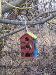Triplex (trilliumgirl) Tags: bird house kelowna okanagan bc british columbia canada red blue yellow birdhouse