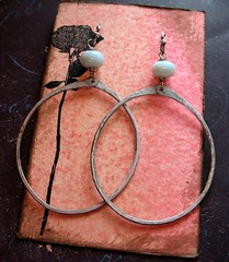hand forged recycled brass pink patina hoops with blue lace agate 1 (msficklemedia) Tags: handforged artisanjewelry handcrafted earrings recycledmetal stone beads sterling silver missficklemedia