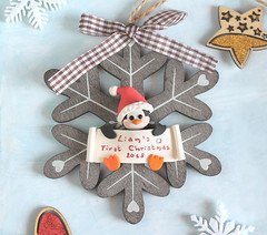 Baby's first Christmas ornament, personalized; penguin, bunny or baby boy or girl (PassionArte) Tags: christmas ornament first baby penguin bunny etsy handmade brown rustic tree heart star decoration noel kid children red personalized custom