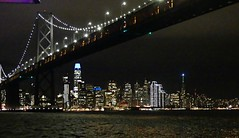 San Francisco Skyline from under the Bay Bridge (janetfo747 ~ Dreaming of Africa) Tags: sanfrancisco paradeoflights baybridge skyline skyscraper city lights tidepiper california boat ship pacific water night