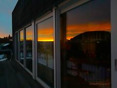 reflection (Fay2603) Tags: reflection windows sunrise sonnenaufgang spiegelung black schwarz yellow gelb orange colours blue blau azzurro sky himmel cielo ciel