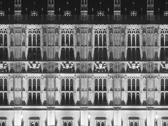 (Kelvin P. Coleman) Tags: canon powershot london palaceofwestminster housesofparliament riverfront building architecture façade stone stonework window frame arch column relief sculpture night light lamp shadow texture repeated repeating pattern shape form lines hdr blackandwhite monochrome bw noiretblanc schwarzweiss blancoynegro outdoor