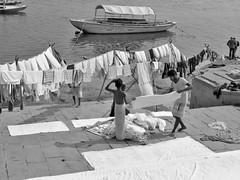 varanasi 2019 (gerben more) Tags: varanasi ganges ganga river boat blackwhite monochrome people laundry india