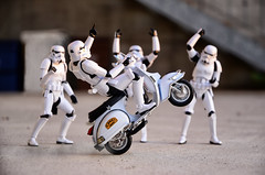 talented stormtrooper (vicari8) Tags: star wars photography miniatures action figure toy art andrea vicariotto stormtrooper vespa sunset bandai bici