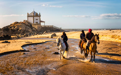 Miramar Beach and Capela do Senhor da Pedra   Portugal (NicoTrinkhaus) Tags: beach ocean portugal porto church baroque rococo tide waves sand landmark famous horses nature landscape