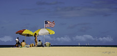 Our style and way of life... (Aglez the city guy ☺) Tags: americanflag umbrellas blue beachscape beachshore sailboat clouds colors people hauloverbeach haulover walking walkingaround selfie beach miamibeach outdoors sand