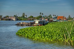 Chao Phraya river around Koh Kret near Bangkok, Thailand (UweBKK (α 77 on )) Tags: chao phraya river water flow stream boat house blue green island koh kret bangkok thailand southeast asia sony alpha 77 slt dslr