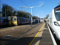 313041-717003-GordonHill-P1531440 (citytransportinfo) Tags: 717003 siemens desirocity train railway greatnorthern station gordonhill sunshine bluesky winter class313 pep 313041 class717
