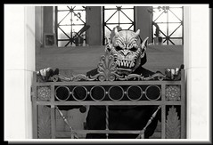 Paradox First Time Out (PhotoJester40) Tags: outdoors outside gargoyle mask costume blacknwhite blackwhite bnw blackandwhite noirblanc amdphotographer monster paradox