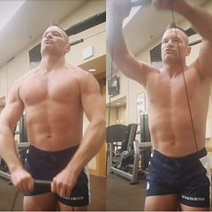 front delts (ddman_70) Tags: shirtless pecs abs muscle gym workout shortshorts