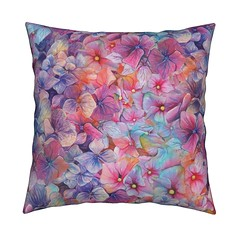 Large BALLET FLOWERS Throw Pillow by FloweryHat (FLOWERYHAT DESIGNS) Tags: floweryhat spoonflower roostery fabrics fabric flowers flowery floral pink blue multicolor mockup spring summer seamless sewing stiching happy garden watercolor painted pastel rainbow flora upholstery apparel joyful hydrangea cotton polyester pod printondemand print printed pillow pillowcase cushion coussin throwpillow