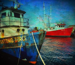 Red and Blue Fishing Boats, Provincetown, Cape Cod (augenbrauns) Tags: grunge harborside fishingboats sky capecod ptown provincetown macmillanwharf harbor wharf dock water blue red painterly awardtree artdigital netartii