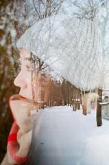 Coldness (_wntz_) Tags: analog doubleexposure winter portrait film nikonfe