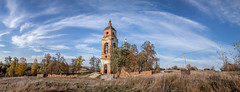 Old Church. (Oleg.A) Tags: ancient autumn penzaregion destroyed church nature orange clouds orthodox architecture cross wall village landscape sunset old brick outdoor panorama evening building exterior blue colorful cathedral dome russia bell materials yellow sky skyscape countryside design style field