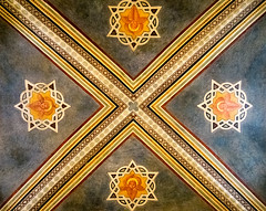 DSCF3705 (Patrick Hadfield) Tags: architecture castle palazzo medieval painting ceiling vaulting fresco blue stars