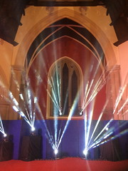 Shining Light (markshephard800) Tags: church lights beams glasgow scotland colours colors couleurs light rays altar red blue white arch arched
