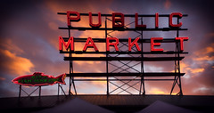 Public Market (Jim Nix / Nomadic Pursuits) Tags: seattle washingtonstate pikeplacemarket publicmarket neon sign sunset sonya7ii sony28mmf2 luminar3 skylum sky golden hour