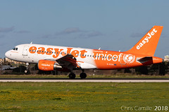EasyJet Airbus A319-111 'G-EZIO' UNICEF special scheme landing LMML - 19.12.18 (Chris_Camille) Tags: easyjet airbus a319111 gezio unicef special scheme landing lmml 191218