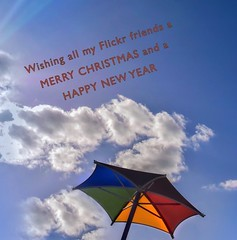 Seasons Greetings (Marian Pollock) Tags: newyear 2018 christmas card sky clouds umbrella colours greetings friends flickr colourful outside design christmasgreeting cloud sunny sunshine rays australia melbourne victoria message chelsea
