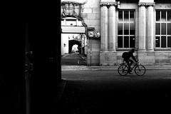 Knight Street (Leica M6) (stefankamert) Tags: street cyclist people city karlsruhe film analog grain man black blackandwhite blackwhite noir noiretblanc leica m6 leicam6 voigtländer nokton kodak trix windows shadows