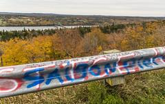 Lookout Grafitti (fotofrysk) Tags: brasdorlookout guardrail grafitti transcanadahighway brasdorlake trees bush fallcolour fall autumn canada novascotia capebreton scenicdrive sigma1750mmf28exdcoxhs nikond7100 20181027dng9564