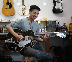 Here's Joseph Campo enjoying his Wonderful Gretsch after the once over. He's a fabulous young Guitarist (David Neely) Tags: gretsch guitars repairs