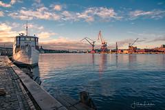 Gothenburg harbour (Fredrik Lindedal) Tags: boat harbor hamn gothenburg göteborg cranes water reflection reflections clouds lindedal light city cityview cityscape visitsweden visitgothenborg sverige sweden