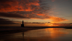 Rattray Head Lighthouse - Jan 2019 #01 (PeskyMesky) Tags: rattrayhead lighthouse aberdeenshire scotland sunrise sunset silhouette red sky water landscape ocean sea sand refection canon canon5d 5d eos