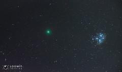 Comet 46p/Wirtanen and Messier 45 (Loowit Imaging - Steve Rosenow, Photographer) Tags: 46pwirtanen 46p comet46pwirtanen comet deepsky space science messier45 pleiades subaru astronomy astrophotography nikon nikond5500 meade meadepolaris astrometrydotnet:id=nova3109931 astrometrydotnet:status=solved